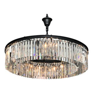 "Restoration Hardware Rhys Clear Glass Prism 43"" Round Chandelier For Sale"