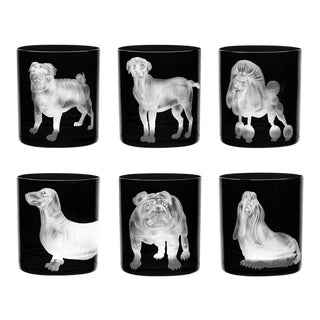 ARTEL Dog Collection Set of Double Old Fashioned Glasses, Black, Set of 6 For Sale