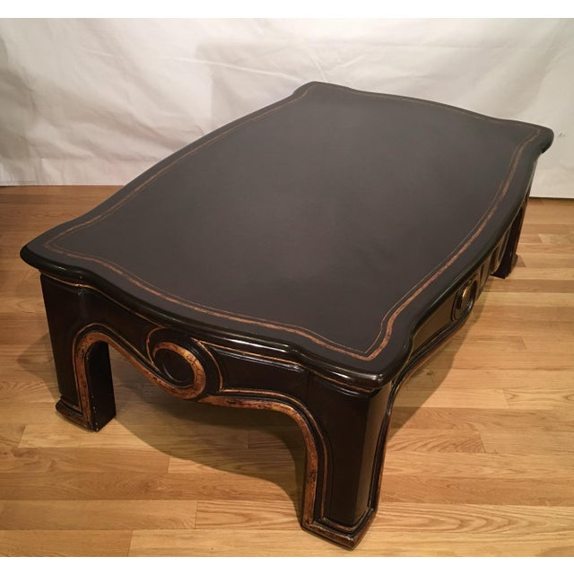 Hollywood Regency Gregorius Pineo Black & Gold Morrison Coffee Table For Sale - Image 3 of 6