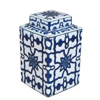 White & Blue Lidded Jar For Sale