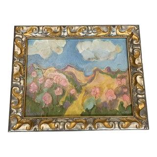 Framed Original Signed Oil Landscape Painting of Apple Blossoms For Sale