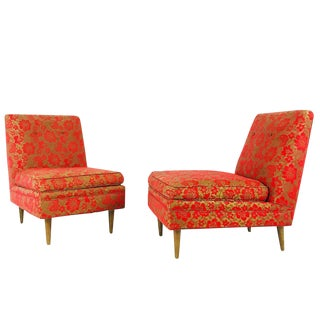Pair of Mid-Century Slipper Chairs For Sale