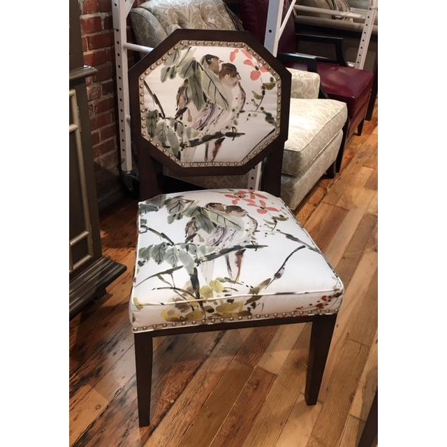 This is a pair of beautiful side chairs designed by Mary McDonald for Chaddock. The custom fabric is a Nina Campbell for...