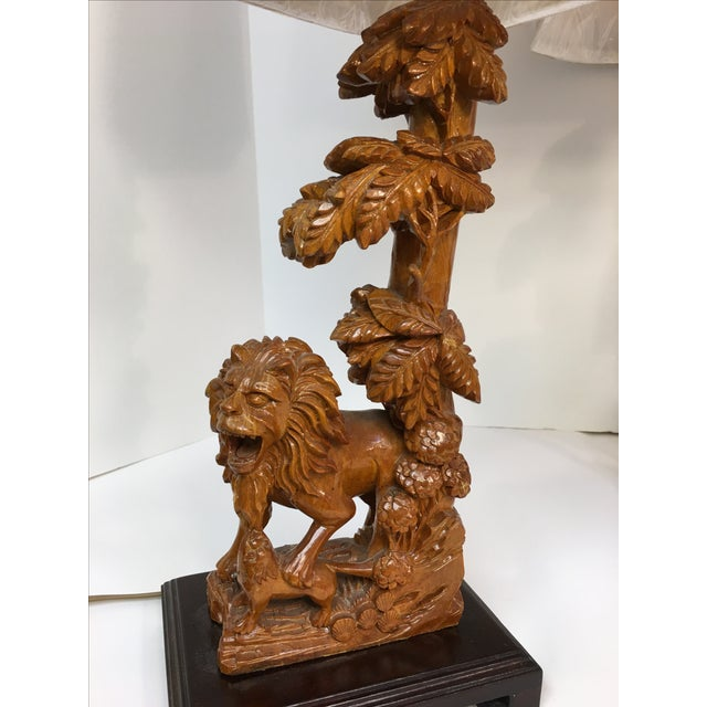 Carved Wood Lion Table Lamps - A Pair - Image 9 of 11