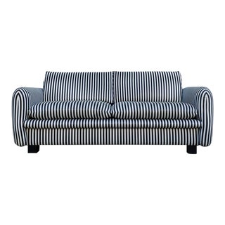 Vintage Black and White Striped Sofa For Sale