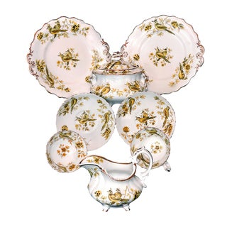 1830 Samuel Alcock Birds & Butterflies Dinnerware Set of 9 For Sale
