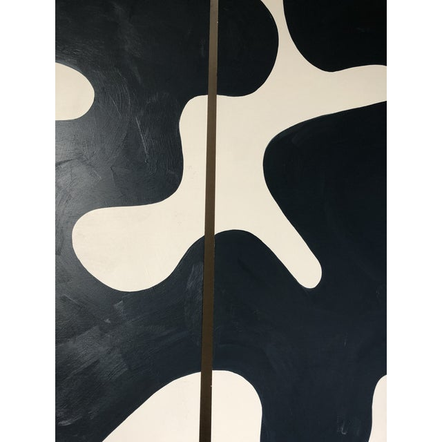 Hannah Polskin original 2019 navy and white abstract acrylic painting on plywood. Serpentine motif with monochrome color...