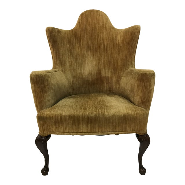 Early 20th Century Queen Anne Tall Barrel Back Wingback Parlor Fire Side Chair Mahogany Cabriole Leg For Sale