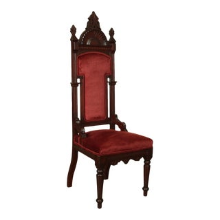 Gothic Revival Antique American Walnut High Back Hall Chair For Sale