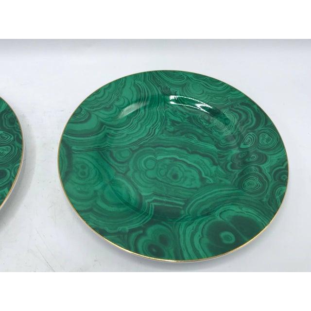 1980s Neiman Marcus Malachite Porcelain Dessert Plates, Set of Four For Sale - Image 4 of 10