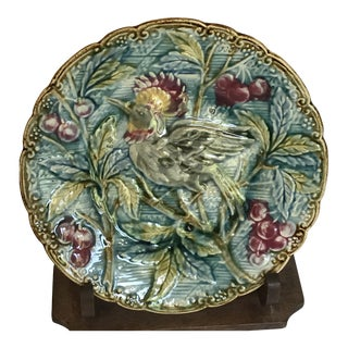 Majolica Embossed Brid Plate For Sale