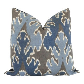 "20"" X 20"" Indigo Blue Ikat Pillow Cover Lee Jofa Square For Sale"