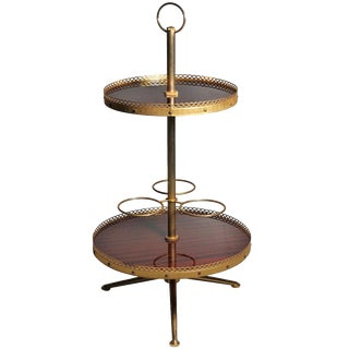 Italian Aldo Tura Two-Tier Gilt Bar Cart Server Caddy With Tri-Pod Base For Sale