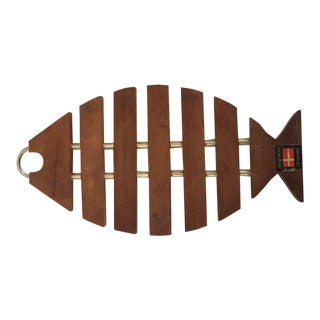 Mid-Century Danish Teak Wood Fish Shaped Trivet