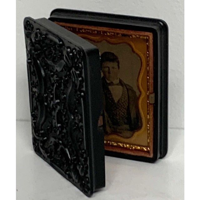 19th Century 19th Century Ambrotype of a Young Male Student/ Writer, Gutta Percha Case For Sale - Image 5 of 8