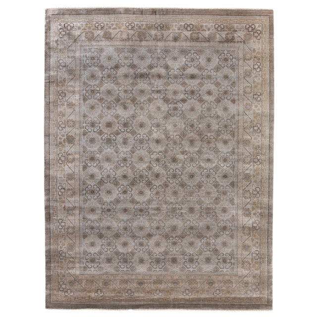 Fine Khotan Hand knotted Bamboo/Silk Camel/Ivory Rug-8'x10' For Sale