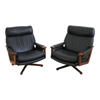Black Leather & Tasmanian Blackwood Swivel Chairs - a Pair For Sale