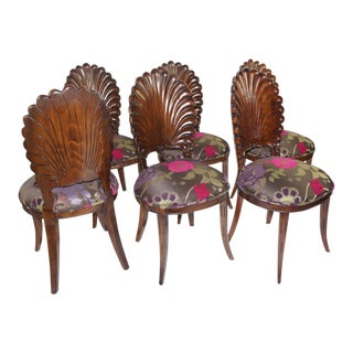 Vintage Shellback Dark Wood Finish - Set of 6 For Sale