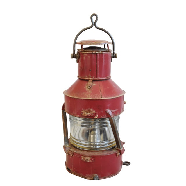 Early 20th Century Large Red Antique English Maritime Ship's Lantern For Sale - Image 5 of 8
