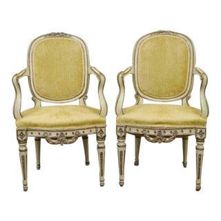 19th Century Hand-Carved Italian Venetian Distress Painted Fauteuil Arm Chairs- A Pair For Sale