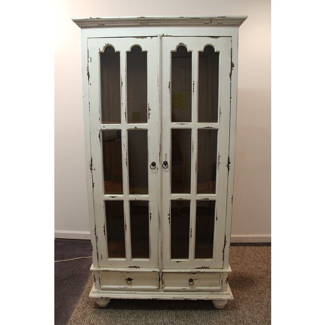 French Country White Distressed Pie Safe Cabinet - Image 3 of 11