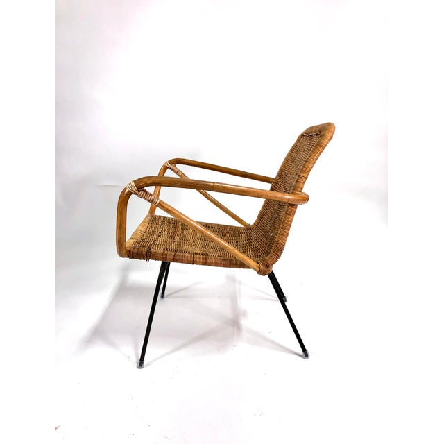 1960s Mid Century Italian Rattan Lounge Chair For Sale - Image 5 of 12