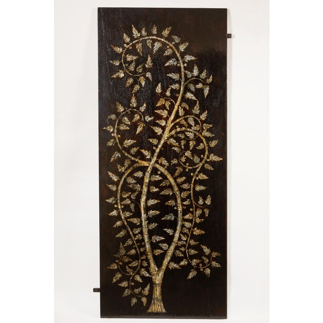 """Asian Pair of MOP Inlaid """"Tree of Life"""" Vietnamese For Sale - Image 3 of 6"""