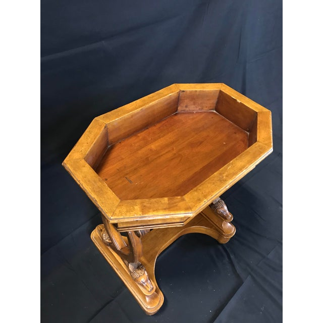 Antique French Hand Carved Sheepshead Walnut Planter Table For Sale - Image 10 of 11