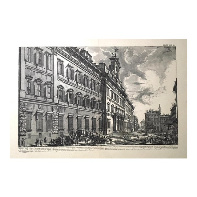 """Veduta Della Gran Curia Innocenziana"" Antique Architectural Lithograph After Piranesi For Sale"
