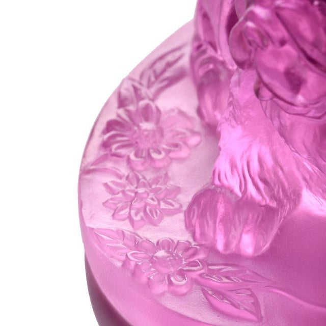 """Contemporary Crystal Limited Edition Chow Chow Dog """"Only Love"""" in Pinkish Red For Sale - Image 3 of 7"""