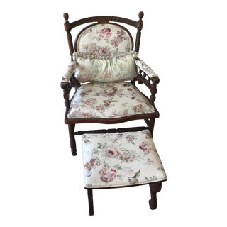 Antique Mahogoney Floral Upholstered Chair With Ottoman - 2 Pieces For Sale