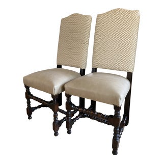 Late 18th Century Tan Tall Back Chairs - a Pair For Sale