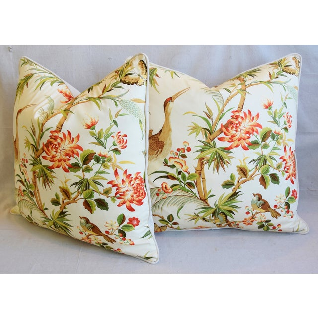 """Chinoiserie Floral Birds & Crane Feather/Down Pillows 24"""" Square - Pair For Sale - Image 9 of 13"""