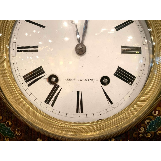 Metal 19th Century, French Napoleon III Black and Gilt Painted Tole Wall Clock For Sale - Image 7 of 13