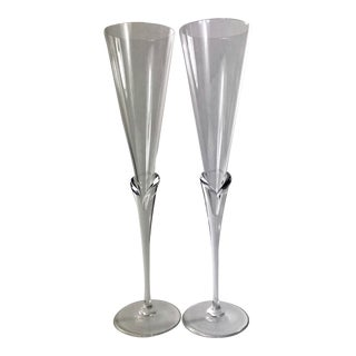 1980s Michael Boehm of Rosenthal Papyrus Calice Crystal Champagne Flutes - a Pair For Sale