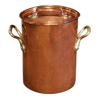 Mid-19th Century French Polished Copper Cauldron With Side Handles and Lid For Sale