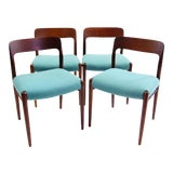 Image of Vintage Mid Century Niels Otto Møller for Jl Møller Møbelfabrik Modern Teak Dining Chairs- Set of 4 For Sale