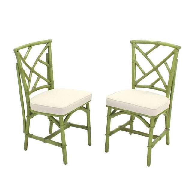 Square Game Table and Four Chairs Green Faux Bamboo Rattan For Sale In New York - Image 6 of 11