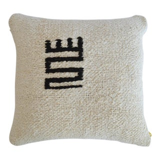 "Handmade Rug Hemp Pillow Cover Throw Primitive Icon Pattern - 16"" X 16"" For Sale"