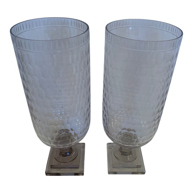 Cylindrical Cut Glass Hurricanes Candle Holders -A Pair For Sale