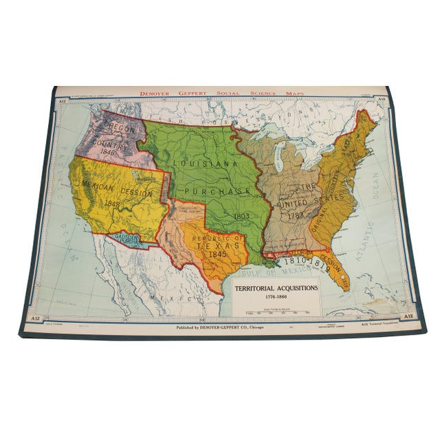 """Denoyer-Geppert Vintage Schoolhouse """"Territorial Acquisitions"""" Map For Sale - Image 4 of 4"""