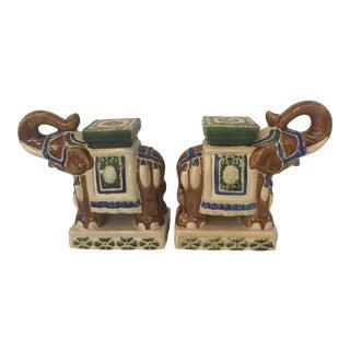 Vintage Mini Elephant Garden Seat Bookends For Sale