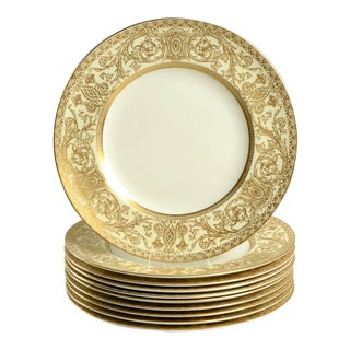 1940s Royal Worcester Embassy Cream Rim and Gold Luncheon Plate - Set of 10 For Sale