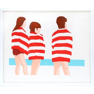 Phyllis Sussman Framed Serigraph - the Beach