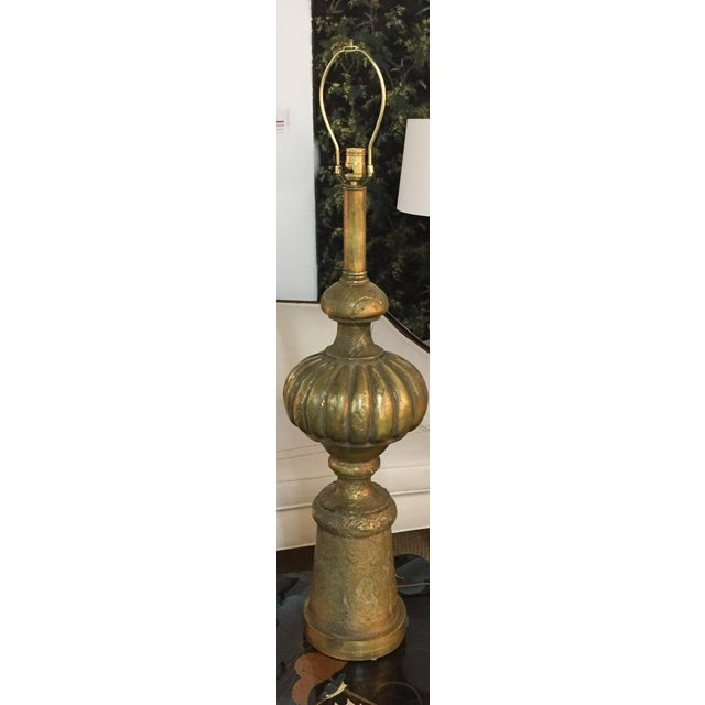Mid-Century Modern Mid Century Large Heavy Gilt Lamp For Sale - Image 3 of 8