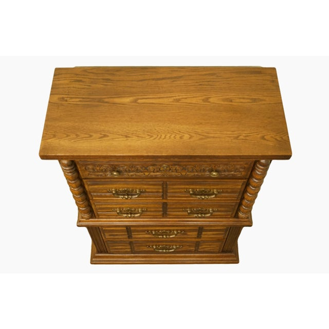 """Broyhill 20th Century Tuscan Broyhill Furniture Oak 39"""" Chest on Chest For Sale - Image 4 of 12"""