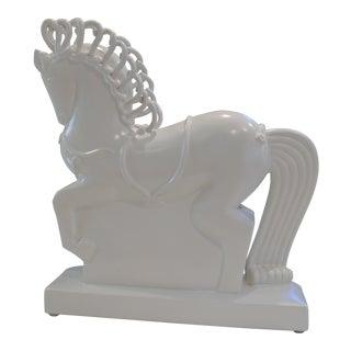 White Ceramic Horse Figurine For Sale