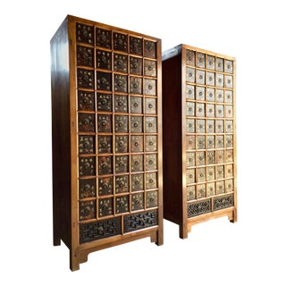 Apothecary Chests Medicine Cabinets Elm Haberdashery Qing Dynasty, 1871 - A Pair For Sale