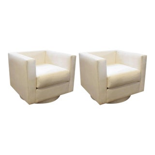 Harvey Probber White Upholstered Tuxedo Swivel Chairs - A Pair