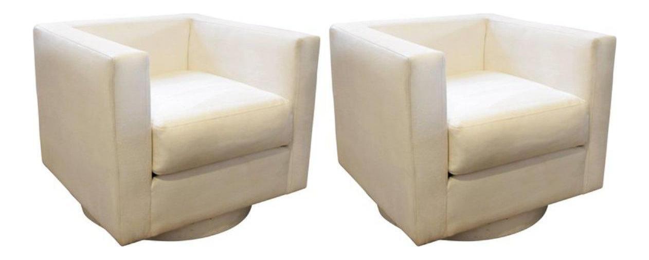 Harvey Probber White Upholstered Tuxedo Swivel Chairs   A Pair